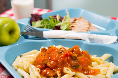 Tray of food for school meals Stock Photo