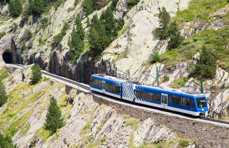 Cogwheel railway in the valley of Nuria Catalan Pyrenees Stock Photo