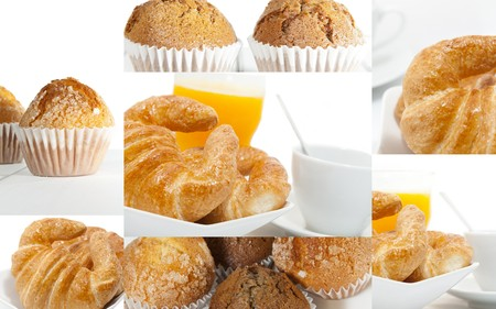 liquidate: Collage of breakfast with sponge-cakes coffee and several Stock Photo
