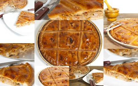 Collage Empanada Gallega, Traditional pie stuffed with tuna or meat typical from Galicia, Spain
