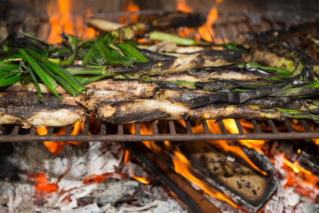 calsotada: Calsots barbecue, typical traditional Mediterranean food Stock Photo