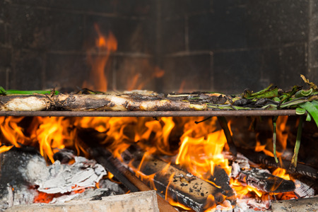 calsots: Calsots barbecue, typical traditional Mediterranean food Stock Photo