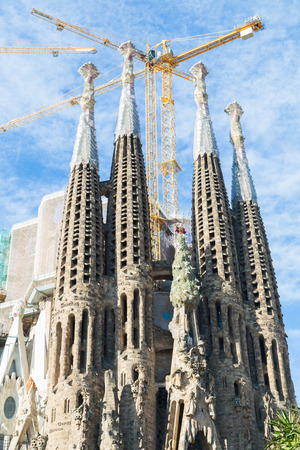 sagrada familia: BARCELONA, SPAIN -MARCH 06: Sagrada Familia on MARCH 06, 2015: La Sagrada Familia - the impressive cathedral designed by architect Gaudi, which is being build since March 19, 1882 and is not finished.