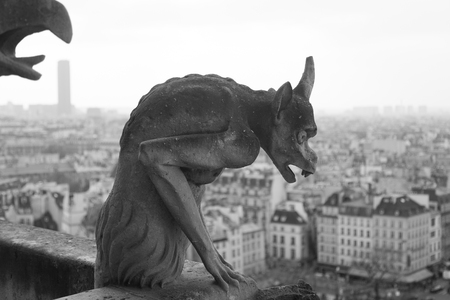 chimera: One of Notre Dame s well known chimera statues, Paris France