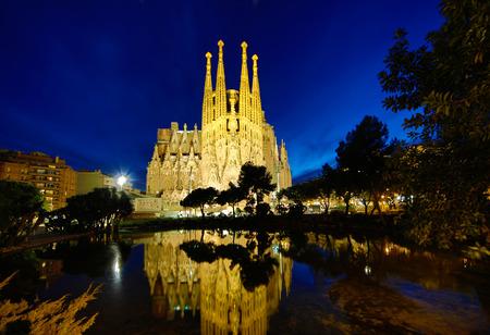 modernist: BARCELONA - FEBRUARY 15, 2014: La Sagrada Familia Templo Expiatorio of Gaudi still in buliding process from 1882 being the greatest exponent of Catalan modernist architecture, Barcelona, February 15, 2014.