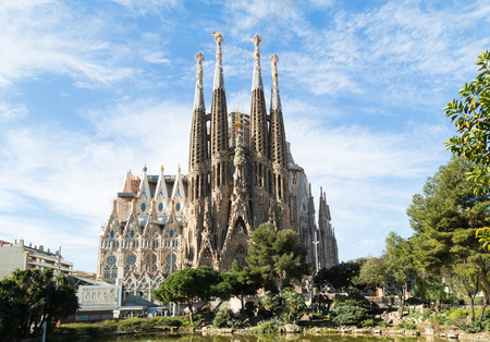 sagrada: BARCELONA, SPAIN -MARCH 06: Sagrada Familia on MARCH 06, 2015: La Sagrada Familia - the impressive cathedral designed by architect Gaudi, which is being build since March 19, 1882 and is not finished.