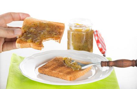 kiwis: Kiwi jam handcrafted with natural kiwis Stock Photo