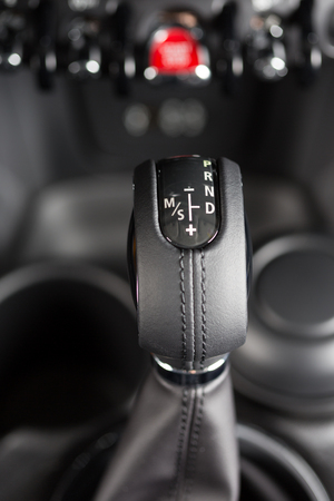 sequential: Interior of a luxury car with automatic transmission Stock Photo