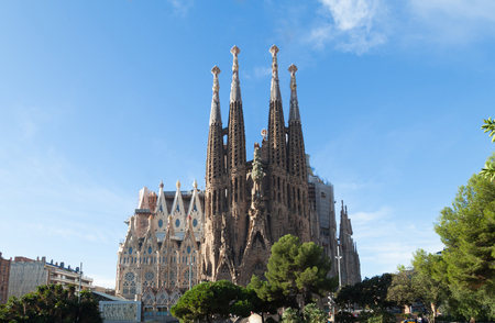 gaudi: BARCELONA, SPAIN -NOVEMBER 03: Sagrada Familia on NOVEMBER 03, 2015: La Sagrada Familia - the impressive cathedral designed by architect Gaudi, which is being build since March 19, 1882 and is not finished.