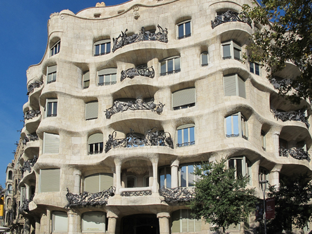 eclecticism: BARCELONA, SPAIN - November 19, 2015: Casa Mila Pedrera  a modernist building in Barcelona designed by Antonio Gaudi