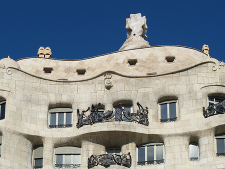 eclecticism: BARCELONA, SPAIN - November 19, 2015: Casa Mila Pedrera  a modernist building in Barcelona designed by Antonio Gaudi