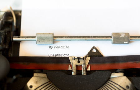 black secretary: Vintage typewriter with a text that says my memories