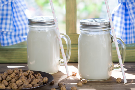 very cold: Valence delicious horchata to drink very cold Stock Photo