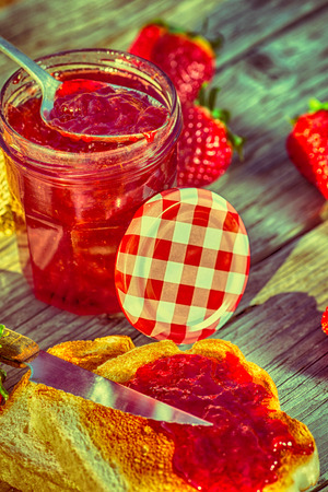 dulcet: Fresh strawberry jam with toast for breakfast Stock Photo