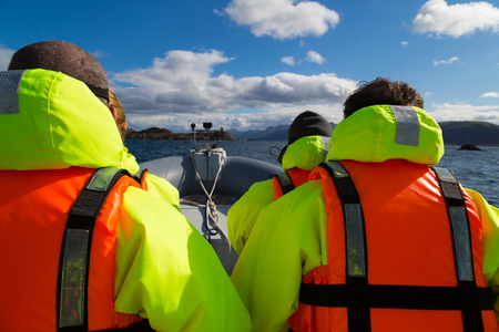 Speedboat in the cold waters of Norway Stock Photo