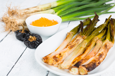 Calçots cooked on the fire, typical food of Catalonia 스톡 콘텐츠