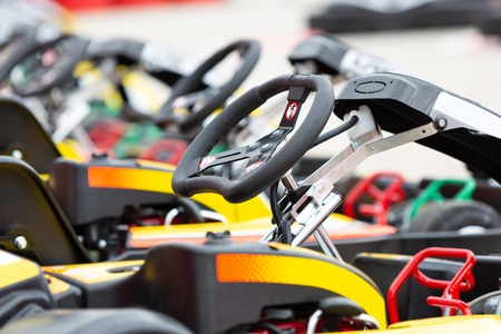 Close up of a karts steering wheel