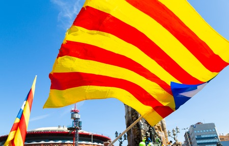 BARCELONA, CATALONIA-APRIL 15TH 2018: Massive demonstration for freedom of expression and political prisoners Editorial
