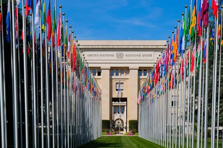 GENEVA, SWITZERLAND - AUGUST, 2019: United Nations entrance and building in Geneva in a beautiful summer day, Switzerland