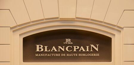 Zurich, Switzerland - August 14 2019: The Blancpain logo outside one of their store in Bahnhofstrasse street