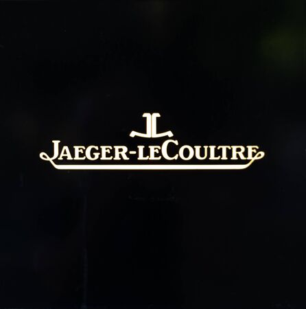Zurich, Switzerland - August 14 2019: The Jaeger Le Coultre logo outside one of their store in Bahnhofstrasse street Editorial