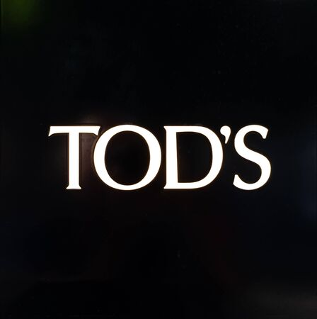 Zurich, Switzerland - August 14 2019: The Tod´s  logo outside one of their store in Bahnhofstrasse street