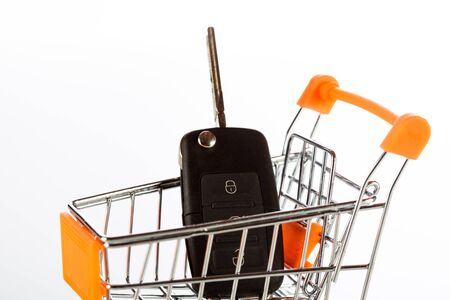 Shopping cart with a car key