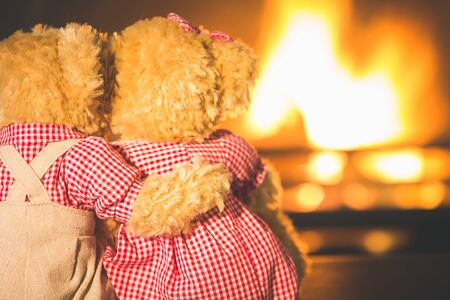 Teddy bears hugging and in love at fireplace Standard-Bild