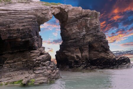Beach of the cathedrals, located in Ribadeo, Galicia Spain Standard-Bild