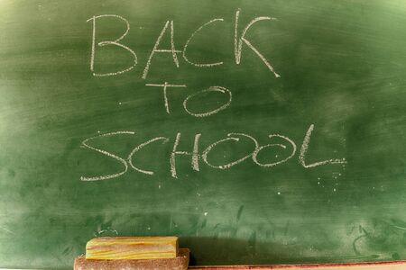 Back to school written on a blackboard