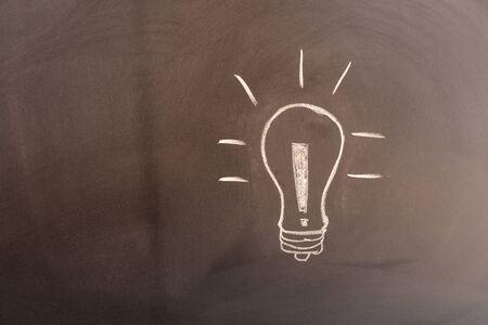 Blackboard with a light bulb for future ideas