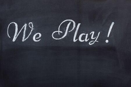 Blackboard with game message Standard-Bild