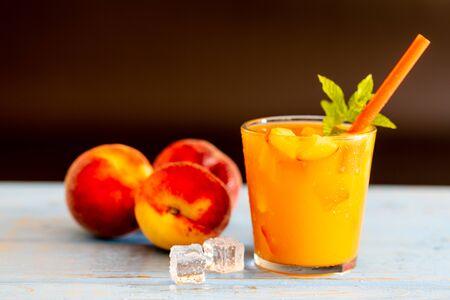 Freshly made and fresh peach juice