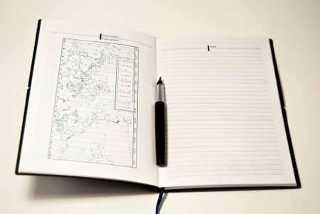 addresses: diary with fountain pen for notes and addresses meetings phones  Stock Photo