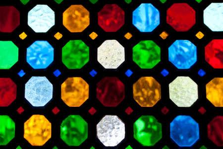 stained glass window: stained glass window of colored glass
