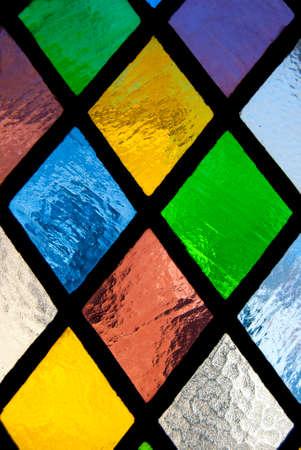 material de vidrio: vidriera de vidrio coloreado Foto de archivo