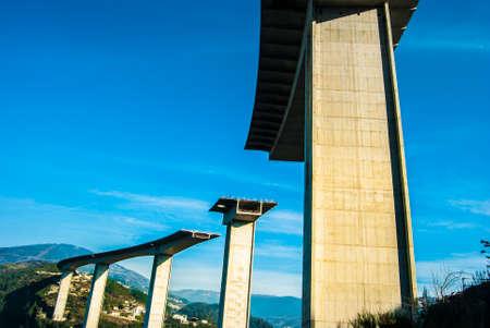 overpass: highway overpass under construction