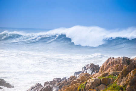sea waves at the beach during a weak storm Stock Photo