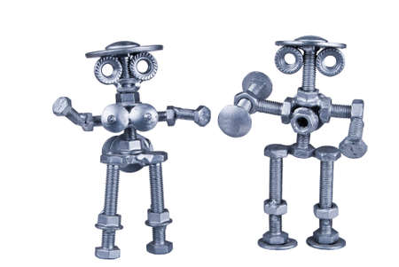 man nuts: abstract image of a man and a woman made of nuts and bolts Stock Photo
