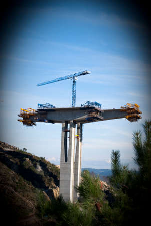 subsequent: construction of motorway bridge under construction reinforced concrete, and the subsequent road sections  Stock Photo