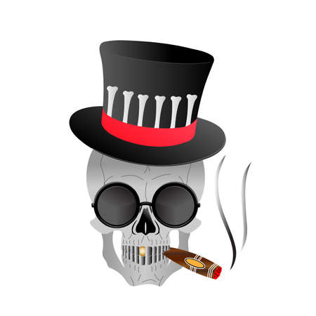 Skull in glasses and top-hat smokes cigar. 