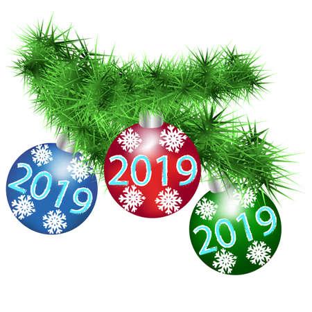Fluffy spruce branch with festive New Year balls.  Vector illustration. Illustration