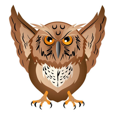 Wise owl with the big head, a sharp beak and predatory claws. Vector illustration.