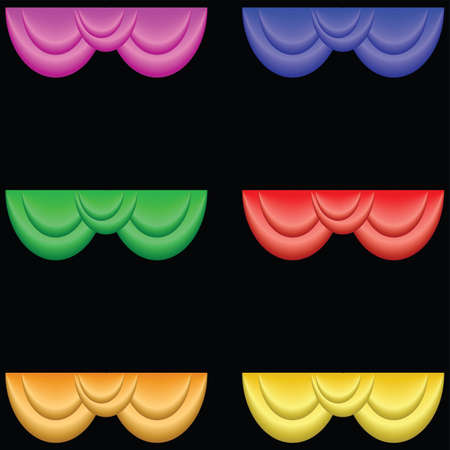 Theater curtains with different colors and highlights.