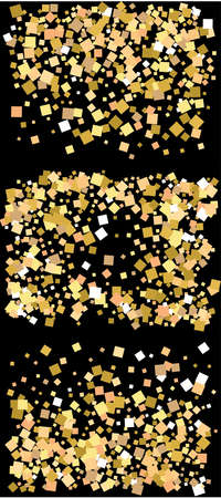 Bright festive falling confetti. Vintage element of design. Vector illustration space. Gold set of beautiful shiny abstract textures on black background.