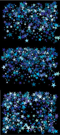 Colorful confetti stars falling. Vector illustration surprise. Fresh cosmic glitter elements for your design. Blue set of invitation templates, background images, posters or greeting cards.