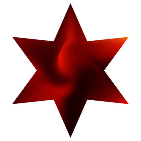 Smooth background in the form of hexagram. Geometric sacred religious symbol. Trendy soft color pearl. Red elegant and easy editable colorful fluid cover for your creative projects.