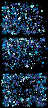 Falling confetti on black background. Vector illustration layout. Random cosmic glitter elements for your design. Blue set of invitation templates, background images, posters or greeting cards.