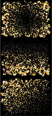 Colorful inspiring festive confetti. New element of design. Vector illustration object. Gold falling abstract creative decoration set for birthday celebrate, anniversary, party or event.  イラスト・ベクター素材