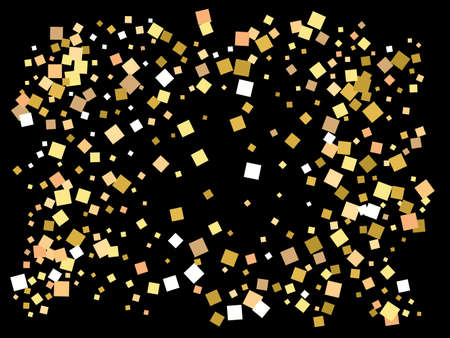 Colorful confetti squares falling. Magic element for your design. Vector illustration surprise. Gold invitation template, background image, poster or greeting card.
